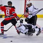 With a little help from Dainius Zubrus of the Devils, Kings forwards Anze Kopitar and Justin Williams got tangled up during the first period.