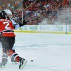 Devils defenseman Marek Zidlicky and Kings center Mike Richards collide.