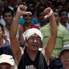 A Filipino fan gestures after hearing the decision after Saturday's fight.