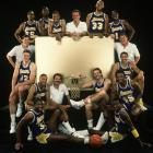 The 1987-88 Los Angeles Lakers pose around for a team photo. Riley would coach the team to its second consecutive championship that season. It was one of four he would win as head coach of the Lakers.