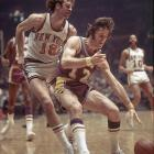 Riley drives to the bucket against fellow future coaching giant Phil Jackson in the 1972 NBA Finals. Riley's Lakers would win the series in five games.