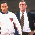 Riley stands nearby John Starks in April, 1995. Starks was an integral part of all of Riley's Knicks teams, but remains notorious for his 2-18 shooting performance in Game 7 of the 1994 NBA Finals.