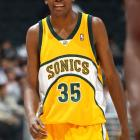 Nineteen-year-old Kevin Durant is all smiles during his third game in the league, against the Clippers.  Durant led to Supersonics to victory and went on to average over 20 points per game during his rookie year.