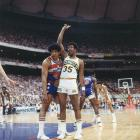 Seattle SuperSonics player Paul Silas (35) raises a hand as he's covered by Washington Bullets big man Wes Unseld (41) during Game 4 of the 1978 NBA Finals. The Sonics would drop the series to Washington, 4-3, but decisively defeat the Bullets in a Finals rematch a year later, 4-1, for the franchise's only title.