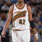 Vin Baker gazes up to the scoreboard during a game against Houston Rockets at Key Arena in Seattle. Baker played five seasons in Seattle and led the team in both scoring and rebounding in the 1997-98 campaign. Baker and Gary Payton are the only two players to play for the USA Olympic team as members of the Sonics.
