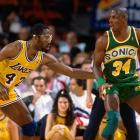 Seattle forward Xavier McDaniel backs down Hall of Famer James Worthy.  McDaniel contributed 39 points in this Supersonics victory over the star-studded Lakers.