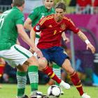"""Despite his recent struggles, Spain's Fernando Torres looked much like his former self, smashing home a goal in the fourth minute en route to an easy 4-0 win over Ireland. The match was completely lopsided, but the Irish fans still hung around to loudly sing """"The Fields of Athenry"""" in the closing minutes of the match."""