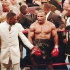 Tyson reacts to the crowd as he leaves the ring.