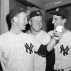 "Martin, pictured here in 1955 with Whitey Ford and Mickey Mantle, had a long history of night club incidents, starting with his 29th birthday party at the Copacabana in May 1957. The celebration resulted in a physical altercation between outfielder Hank Bauer and another club patron. Yankees' GM George Weiss, who long-believed Martin was a bad influence on Mantle and Ford, shipped Martin off to Kansas City a month after the incident.   As manager, ""Billy the Kid"" had any number of other fisticuffs, including notoriously hitting a Minnesota marshmallow salesman in the face at a hotel bar in 1979. Yankees owner George Steinbrenner quickly fired him to bring an end to Martin's second stint as manager. Back with the Yankees for the fourth time as manager in 1985, Martin got into fights on consecutive nights at the bar of the Cross Keys Inn, one with the groom of a wedding, the other with one of his own starting pitchers, Eddie Lee Whiston, which resulted in a broken right arm and two cracked ribs for Martin. During his last stretch as manager of the Yanks, Martin was involved in a fight with three men in the bathroom of Lace, a topless club in Arlington, Texas. Martin required more than 40 stitches to his head, but was back in the dugout to manage the next day. Martin was let go for the final time one month later after a four-game losing streak that had the Yankees second in the AL East."
