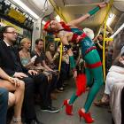 Though this fashion show took place in Berlin, it's the kind of thing you see every day on the subways of New York.