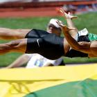 Looks like the decathlete suddenly realized he'd forgotten his pole while attempting a vault at the U.S. Olympic Track and Field Trials in Eugene, Oregon.