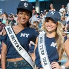 In the Bronx, Miss Universe 2011 (left) and Miss Teen USA 2011 demonstrated why God is a Yankees fan.