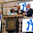 While recovering from his season-ending injury, the revered Yankees closer is now opening the New York Stock Exchange.