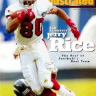 The NFL's career leader in receptions (1,549), yards (22,895) and touchdowns (208), Rice was a key member of three Super Bowl champions as a Niner.   Runner-up:   Steve Largent    Worthy of consideration:   Issac Bruce, Cris Carter, Cris Collinsworth, Henry Ellard, Irving Fryar, Andrew Johnson, James Lofton, Kellen Winslow