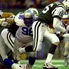 A mountain of a man (6-3, 306) who could really motor, the seven-time Pro Bowl defensive tackle spent his entire 11-year career with the Seattle Seahawks, winning 1992 NFL Defensive Player of the Year honors.   Runner-up:   Tom Harmon     Worthy of consideration:   Sean Jones, Clyde Simmons, Adalius Thomas