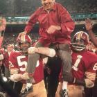 After winning the 1972 NFC Championship and earning the Redskins their first Super Bowl birth, Coach George Allen gets carried off the field.  The `Skins took down NFC rival Dallas Cowboys in a blowout 26-3 win.
