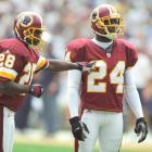 Darrell Green and Champ Bailey line up on defense during a game against the San Diego Chargers at Qualcomm Stadium in San Diego, California.  Drafted in 1983, Darrell Green has the most career interceptions in Redskins history (54), as well as most game starts (258) and games played (295).