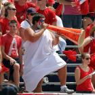 Students are an important part of the college game, too. The guy (who is obviously majoring in ancient Roman studies) with the horn appears to be berating his favorite team for having the temerity to lose to Texas-San Antonio, 33-31, at Ladd-Peebles Stadium in Mobile.