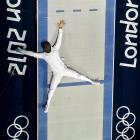 If you think Olympic fencing has something to do with stolen goods, think again. Here we have South Korea's Jinsun Jung apparently cut down by Seth Kelsey of the U.S. in the vicious men's epee individual bronze medal match. The South Korean was awarded the victory, posthumously we presume.