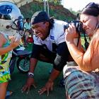 SI's Peter King reportedly reported that the Panthers will use Rhiya Williams, 2, the daughter of DeAngelo Williams (center) as a change-of-pace back. That's proud mama Risalyn Berzynski taking a photo of the dynamic backfield duo before practice in Spartanburg, S.C.