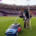 An unidentified staff member used spent javelins to drive the clowns out of his Mini (indeed) Cooper at Olympic Stadium.