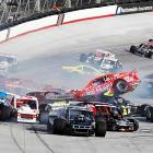 The No. 25 Havoline Plus SVC/Shady Grady Racing Chevrolet, driven (in a manner of speaking) by John Smith, went airborne during Bristol Speedway's aptly-named race on August 22.