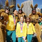 Another perk that comes with winning a medal: you get to consort with people who think they're wallabys at The Australian Olympic Team Homecoming Parade in Sydney.