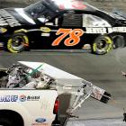 J'accuse! Ms. Patrick wagged an angry digit at Regan Smith and his Furniture Row/Farm American Chevrolet after it rendered her GoDaddy.com buggy hors de combat in the Sprint Cup IRWIN Tools Night Race at Bristol Motor Speedway.