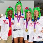 After winning an Olympic gold medal, one will always be expected to conduct one's self with great dignity in public places such as Citizens Bank Park in Philadelphia.