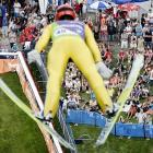 German skier Andreas Wank didn't need snow to compete in the summer ski jumping World Cup in Courchevel, France.