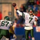 Quarterback Ken O'Brien airs out a pass against the Patriots in 1991.
