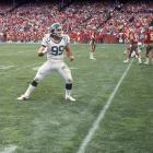 Mark Gastineau dances after making a sack against the San Francisco 49ers in 1983.