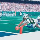 Jets receiver Wayne Chrebet dives towards the end zone against the Colts in 1998.