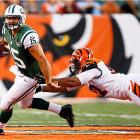 Tim Tebow made his Jets' debut in the second quarter of a 17-6 loss to the Bengals. He completed only four passes for 27 yards and threw an interception. He did scramble three times for 34 yards.