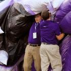 Two students were savagely attacked by an inflatable Wildcat before Northwestern's 23-13 victory over Vanderbilt at Ryan Field in Evanston, Ill.