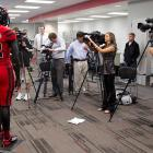For the benefit of inquiring TV crews, Nebraska's mannequin running back thoughtfully answered questions about the snappy threads the Cornhuskers will wear in their upcoming game against Wisconsin.