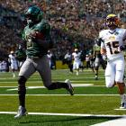 Matt Barkley continues to occupy the role of Heisman favorite, but conference mate De'Anthony Thomas (pictured) is posting eye-popping numbers of his own for the Ducks. Thomas delivered 222 all-purpose yards on a mere 10 touches against Tennessee Tech, rushing for a 59-yard touchdown and catching a 16-yard score. Oregon quarterback Marcus Mariota had a big day as well, throwing for 308 yards and four scores.