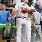 No team may be happier to see Chipper Jones retire than the Marlins. No opponent has more home runs (40), RBIs (165), hits (258), doubles (47), runs (152), at-bats (864) or walks (140) than Jones, who debuted in the majors in 1993 -- the same season as the Marlins.The Marlins gave Jones a fishing gift pack -- a fly-fishing rod and reel, vest, fly-tying kit, books on fly fishing, a hat with LCD lights so he can fish at dawn or dusk, a tackle box and a waterproof tote bag.