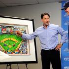 Better known as Lar-ry by Mets fans, CEO Jeff Wilpon points out details on a 48 x 40 inch framed piece of artwork by Charles Fazzino that was given to him in his final trip to New York in September. In addition, the popular Manhattan bar Foley's Pub and Restaurant changed its name to Chipper's for the weekend series.