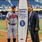 Former Padres closer Trevor Hoffman may have given Chipper the most unique gift -- a surfboard. Hang 10 for No. 10.