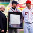 """Reds general manager Walt Jocketty and third baseman Scott Rolen presented a third base bag to Chipper. All three bases had """"Celebrating the Career of #10 Chipper Jones"""" placed on the sides. One of which Chipper will keep, with the Reds and Braves organizations keeping one in their own Halls of Fame."""