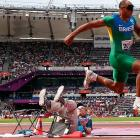 Brazil's Luciano dos Santos Pereira nimbly cleared an official hurdle in the men's triple jump final at London's Olympic Stadium.