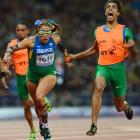 In what appears to be a shocking development for guide Guilherme Soares de Santana, Brazil's Terezinha Guilhermina won the women's 100m gold in London.