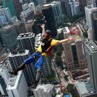 """An """"Oops, I forgot the parachute"""" moment from the 1,246-foot high Kuala Lumpur Tower in Malaysia."""