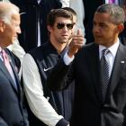 As an obviously concerned VP looks on, the POTUS alerts Secret Service to the presence of a shady character at the White House welcome for the 2012 U.S. Olympic and Paralympic teams.