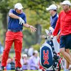 Team USA's Phil Mickelson tries to conjure up a club during a practice round.