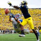 Air Force wide receiver Chris Jordan just misses a third-quarter pass during a game against Michigan at Michigan Stadium. The Falcons nearly stunned the Wolverines, but Michigan would win the game 31-25.