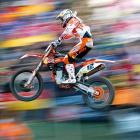 Maximilian Nagl of KTM Germany makes a jump during a motocross event in the Motocross MX World Cup in Germany.