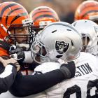 A brawl during the Bengals-Raiders game in Week 12 resulted in five players getting fined. After Raiders defensive lineman Lamarr Houston took a shot at Bengals quarterback Andy Dalton for a false start, the Bengals' Andrew Whitworth defended his teammate, and a fight erupted between Whitworth and Raiders Houston, Desmond Bryant, Tommy Kelly and Matt Saughnessy.  Dalton said afterward that he appreciated Whitworth letting the opposing linemen know they couldn't take a cheap shot at the Bengals quarterback.  Neither Bryant nor Shaughnessy were flagged on the play, but still received the $26,250 fine--the minimum for a first offense for fighting.