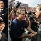 """Suspicion clouded the Patriots' three Super Bowl titles when the Jets accused them of illegally taping their defensive signals from the sidelines during a game, in violation of NFL rules. After a league inquiry and confiscation of evidence, Pats head coach Bill Belichick (claiming he'd misunderstood the rules in question) was fined $500,000, and the Patriots were relieved of $250,00 and their first round draft pick. But the controversy didn't die as more illegal spying allegations arose and Senator Arlen Specter (R-PA) called for a congressional investigation. Goodell also had to explain why the NFL had destroyed evidence: he saw no purpose in keeping it; something Specter felt, """"didn't make any sense at all."""""""